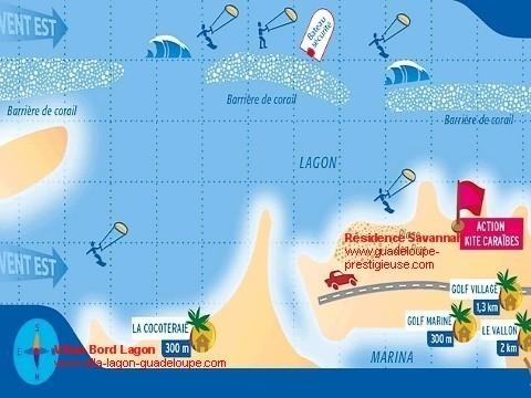Carte du spot de kite surf à St François Guadeloupe