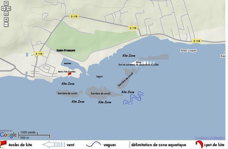 Spot Kite Surf à Saint François et bien sûr des tas d'autres spots  partout en Guadeloupe