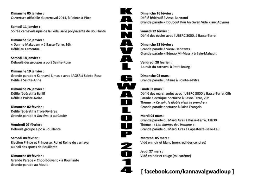 programme carnaval 2014