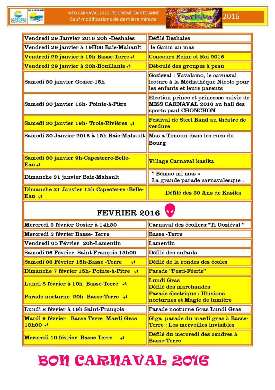 programma carnaval 2016 en Guadeloupe