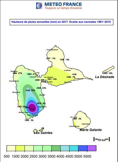 Carte pluviométrie en Guadeloupe