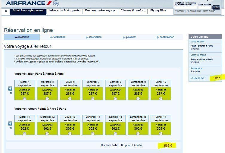 Promotion vol Air France pour cet hiver vers Pointe à Pitre