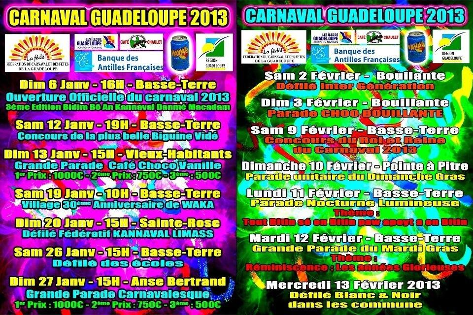 Le programme en dépliant du carnaval 2013 en Guadeloupe
