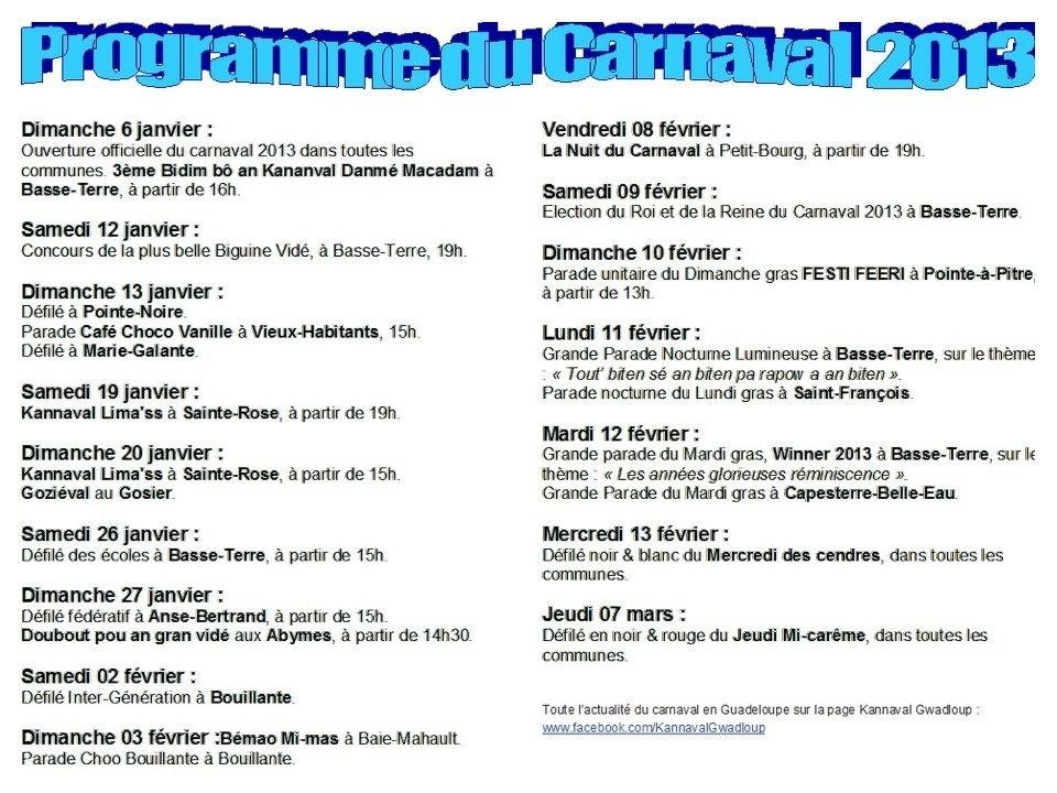 Programme des manifestations du Carnaval de Guadeloupe en 2013