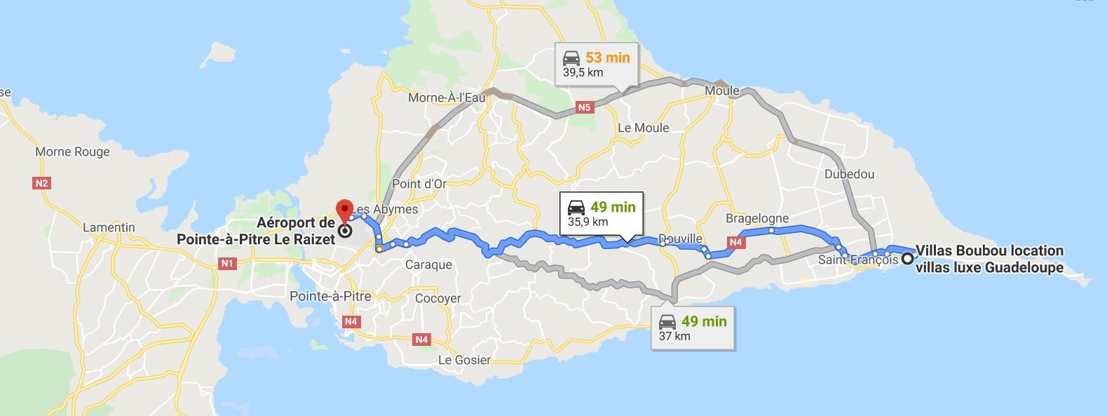 Distance Aéroport Pointe à Pitre et les villas