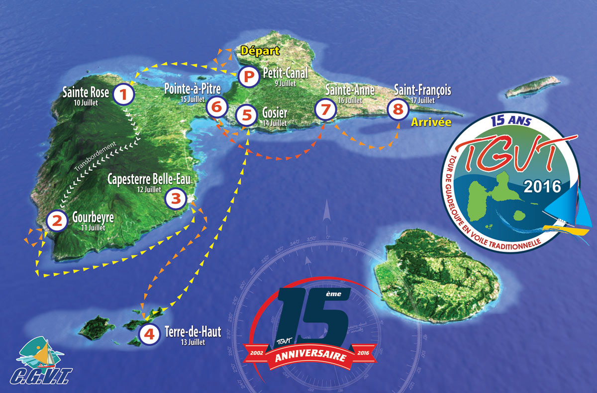 Parcours du Tour de Guadeloupe en voile traditionnelle