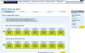 Promotion Vol Air France Paris Pointe à Pitre de sept 2012 à fev 2013